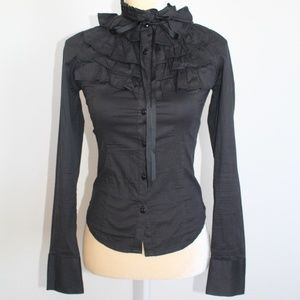 Tops - Black Ruffles Bow Button Down Long-sleeve Shirt